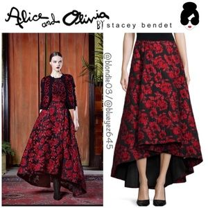 Alice & Olivia floral brocade tea-length skirt 10